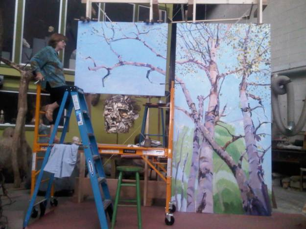 Pat Burson working on Dawn Birches, now installed at a NH law firm