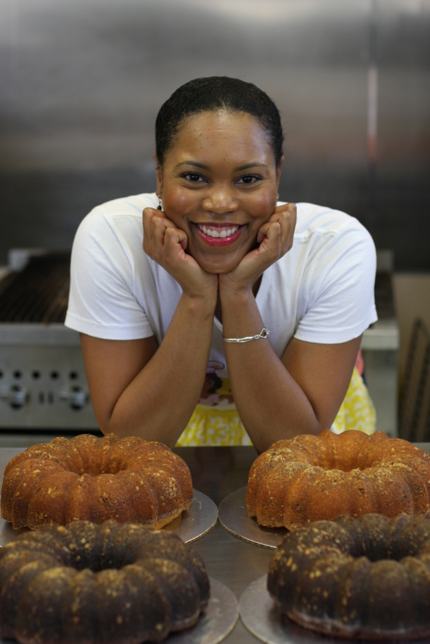 Yolanda with her famous Vanilla Confection Rum Cakes