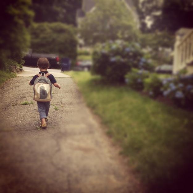 Rett walking up the driveway