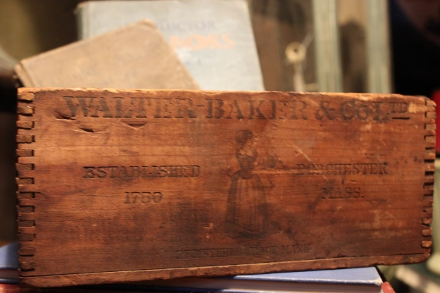 An original Walter Baker Chocolate Factory crate