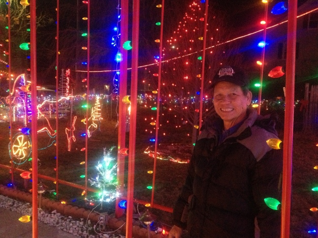 Trong Nguyen, a true Holiday Light Artisan, has lovingly cut, painted and constructed many of the illuminated beauties that fill his lawn.